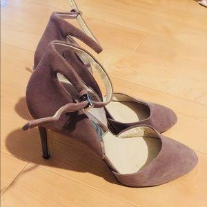 Michael Kors Suede Lavender pumps with ankle strap
